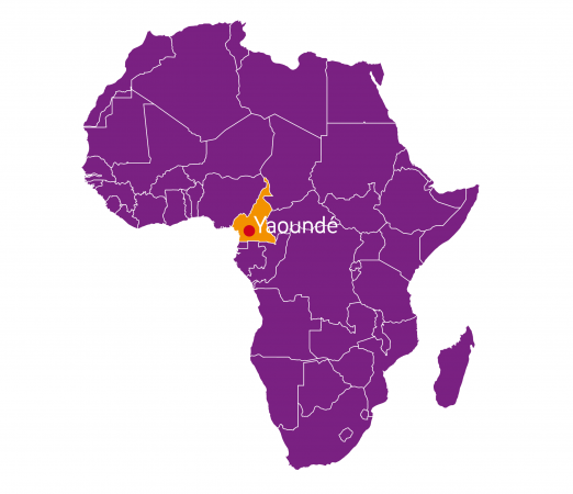 Yaoundé on a map of Africa