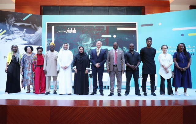Grantees for the Africa Publishing Innovation Fund on stage in Sharjah