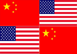 USA and China flags composite