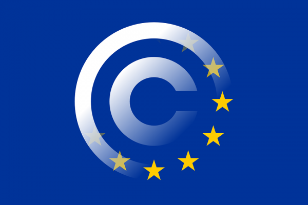 EU flag and copyright logo merge