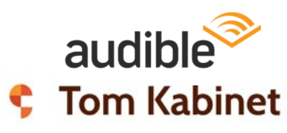 Audible and Tom Kabinet logos composite
