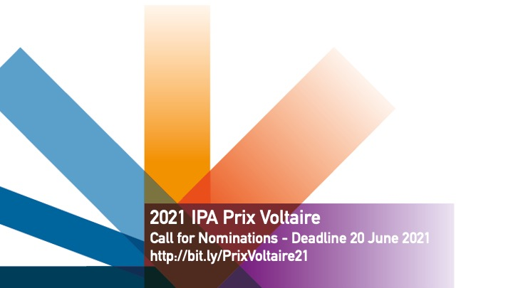 IPA logo with Prix Voltaire nomination details