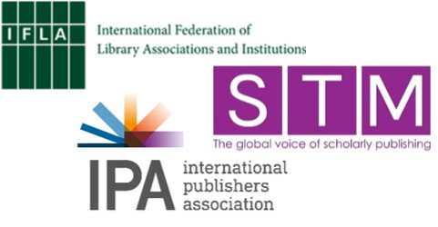 Logos of IFLA, IPA and STM